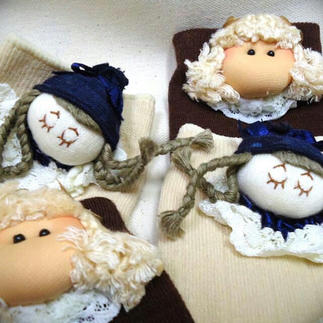 (全新)娃娃中統襪子(米白/咖啡)