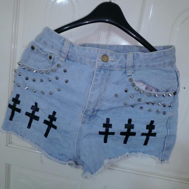十字架柳釘高腰褲