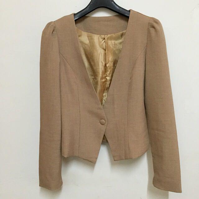 二手-小包袖反摺配色顯瘦西裝外套(卡其色)