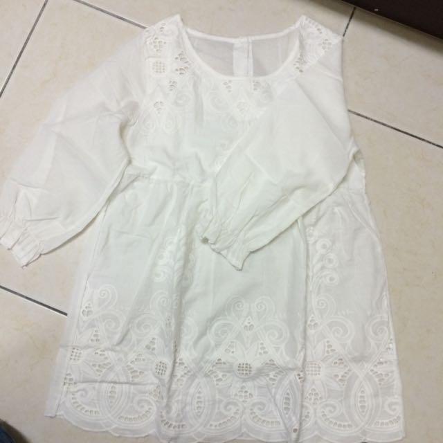 純白渡假小洋裝