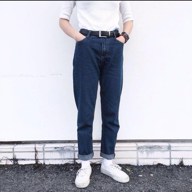 深藍 牛仔 直筒 褲