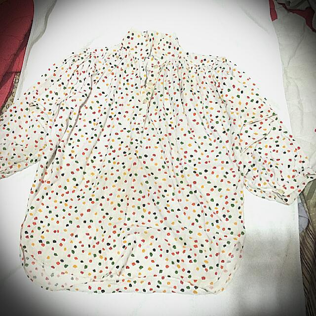 筆藝洋行-散了一地的手捏彩色紙 七分袖花襯衫 馬鞍下擺 高胸 娃娃裝