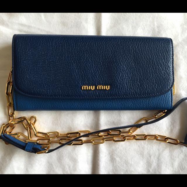 ffcbe03bd559 🎀 MIU MIU Bi-Colour Leather Wallet On Chain Bag  5MT290 100% AUTH + ...