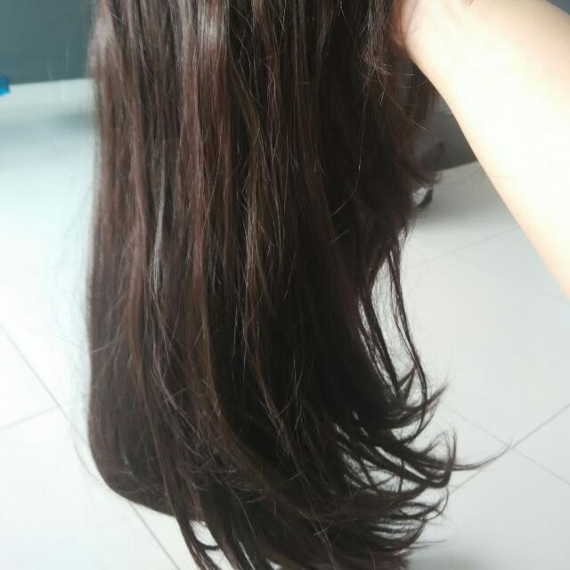 BN Natural Looking Wig.  Dark Brown Long Hair With Fringe