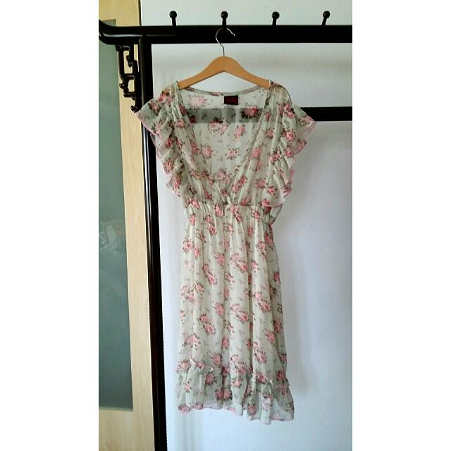 Ditsy Carefree Sheer Japanese Floral Dress