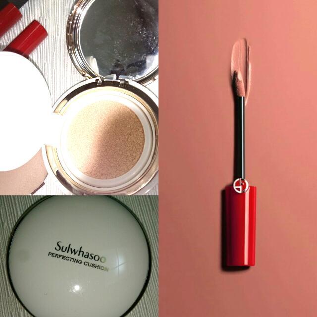 (組合)Giorgio Armani+雪花秀氣墊粉餅#21 唇萃 粉膚荷葉邊 #202
