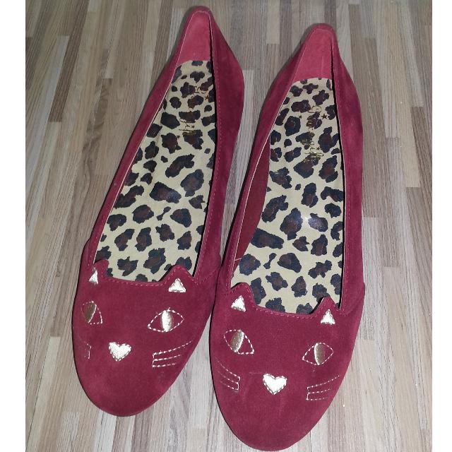 Grace Gift 紅色貓咪平底鞋 25號