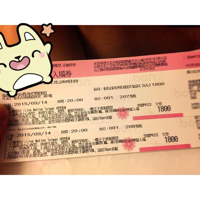 Maroon 5 魔力紅2015 9/14 演唱會搖滾區站票 X2