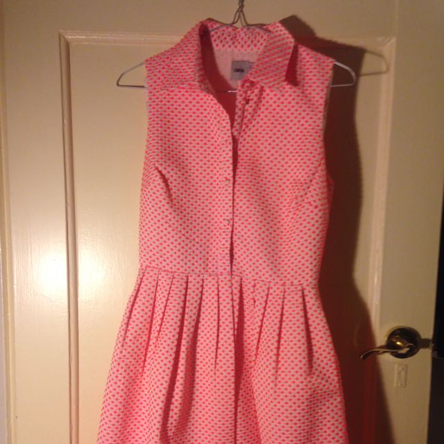 Size 8 Hot Pink Dress Asos Poka Dot