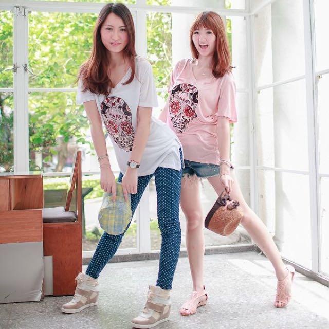 正韓❤️骷髏頭白色質感v領T Shirt