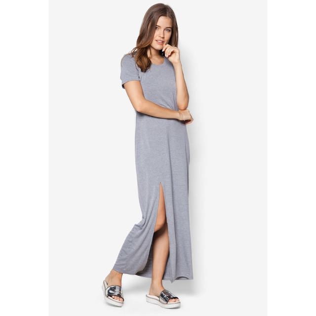 Zalora Grey Slit Maxi Dress