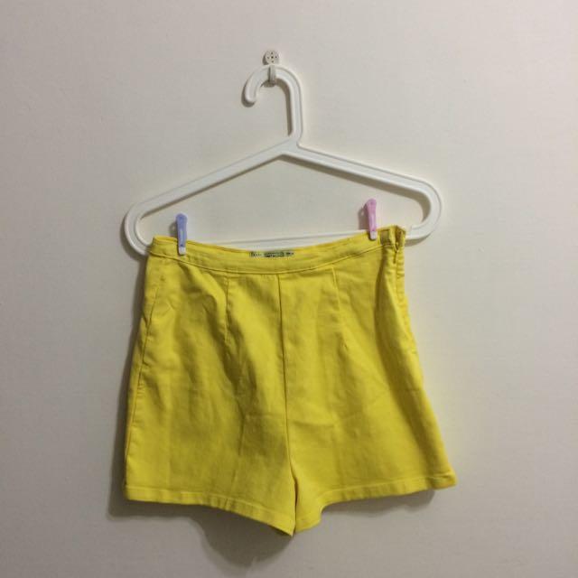 Zara黃色高腰短褲
