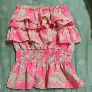 顯瘦平口縮腰粉色上衣💕近全新