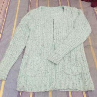 果綠色毛毛長版外套