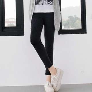 黑色彈力顯瘦雪花刷色八分窄管褲 XL