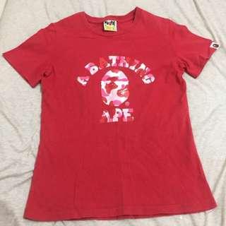 正品 BAPE基本款紅色T恤