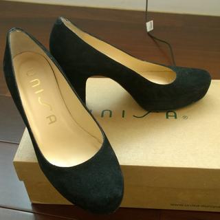 西班牙UNISA麂皮黑色高跟鞋,鞋底也是真皮