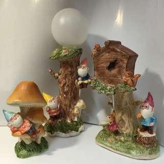 小矮人陶瓷燈具組