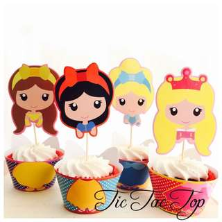 12pcs Disney Princesses Cupcake Wrappers + Toppers For Party. Cinderella Snow White