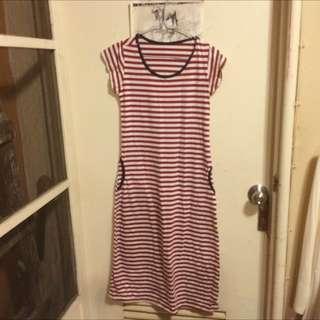 二手 紅白條紋棉質長洋裝
