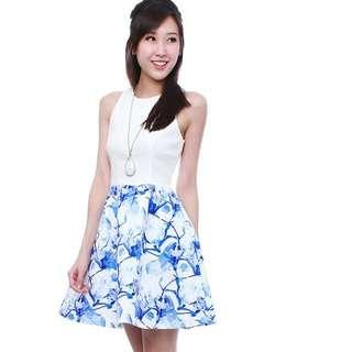 BNWT FaireBelle Twinning Printed Dress - Porcelain Blue