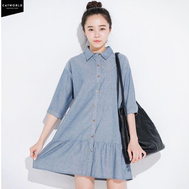 寬鬆純棉七分袖襯衫洋裝