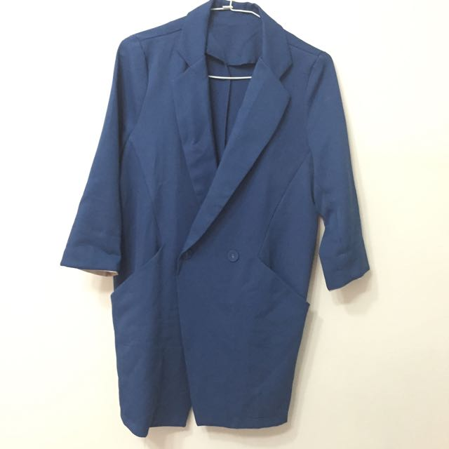 寶藍色七分袖雪紡西裝外套