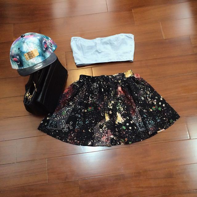 黑色銀河系短裙🌟🌟