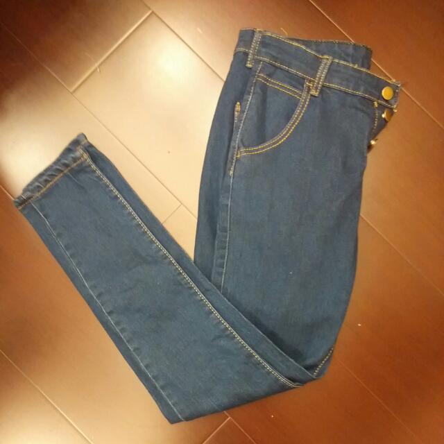 排釦高腰原色牛仔長褲