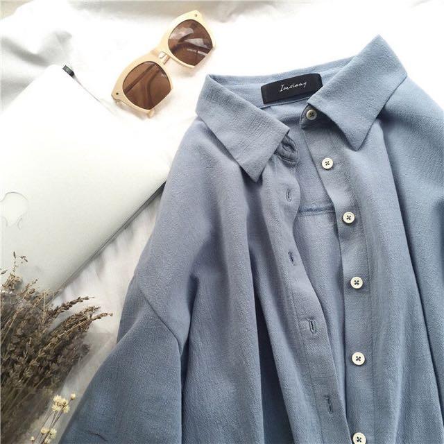 灰藍色 獨家寬鬆簡約長袖襯衫