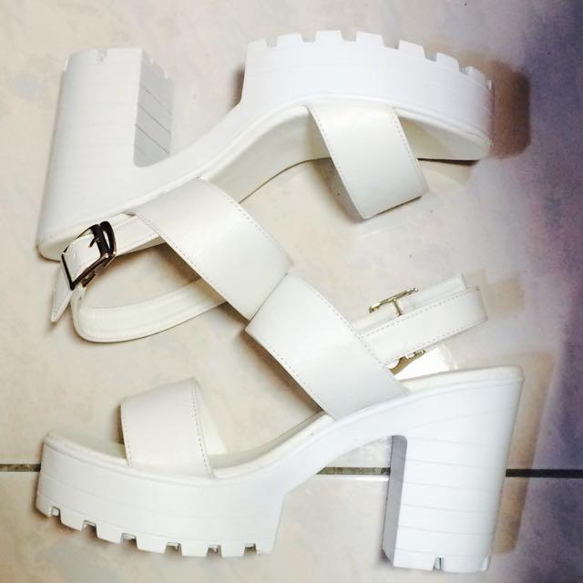 厚底涼鞋 厚底高跟鞋 白