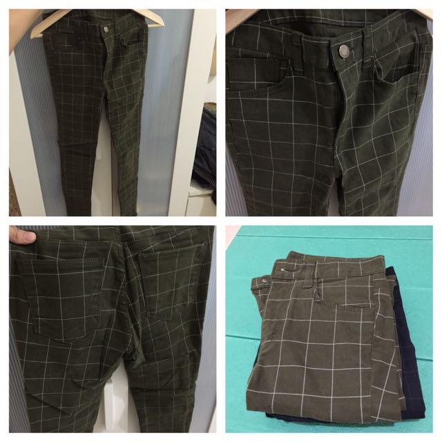 韓 綠 格紋褲