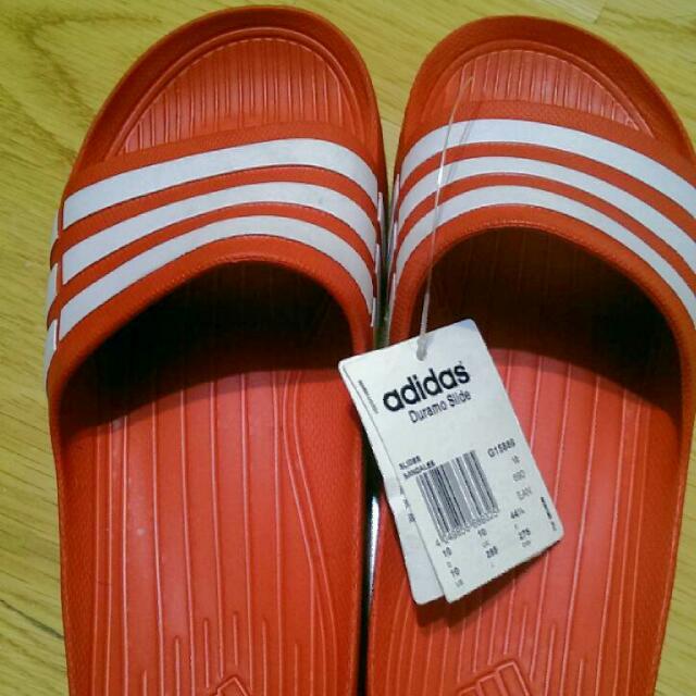 愛迪達adidas紅底白條拖鞋