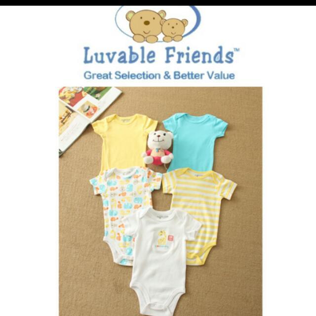 <全新>美國Luvable Friends 短袖包屁衣五件組 3-6個月