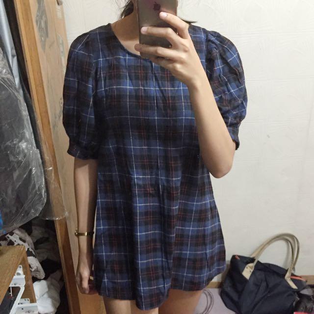 Nacho 正韓藍紅格子洋裝