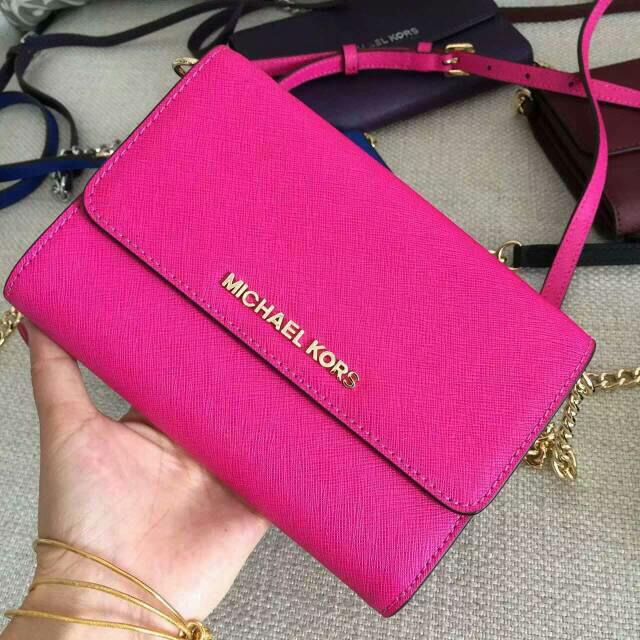 da9da2653853 ... real p.o authentic michael kors jet set leather crossbody bag fuchsia  bulletin board preorders on carousell