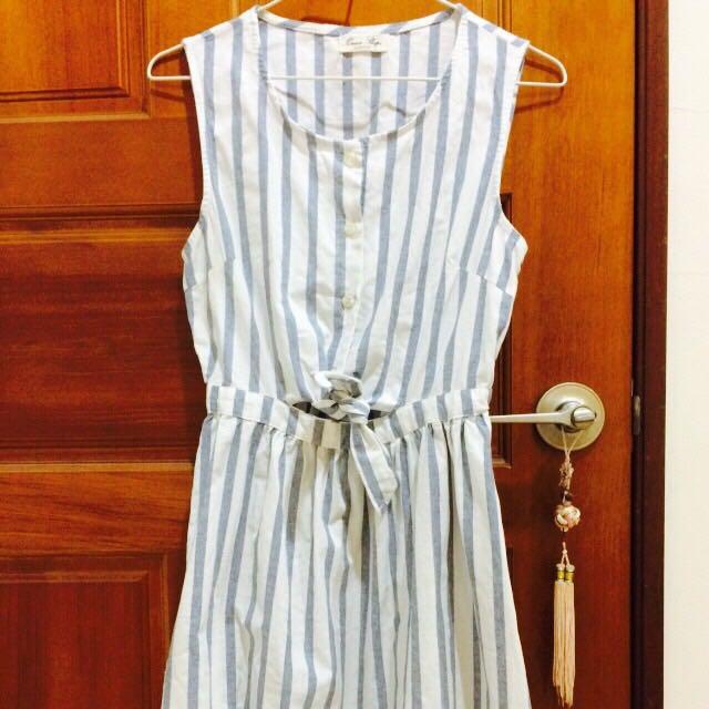queen Shop棉麻藍條紋洋裝