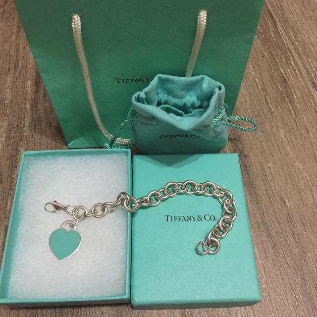 59baa02f076e3 (Pending) Tiffany Blue Enamel Heart Tag Charm Bracelet