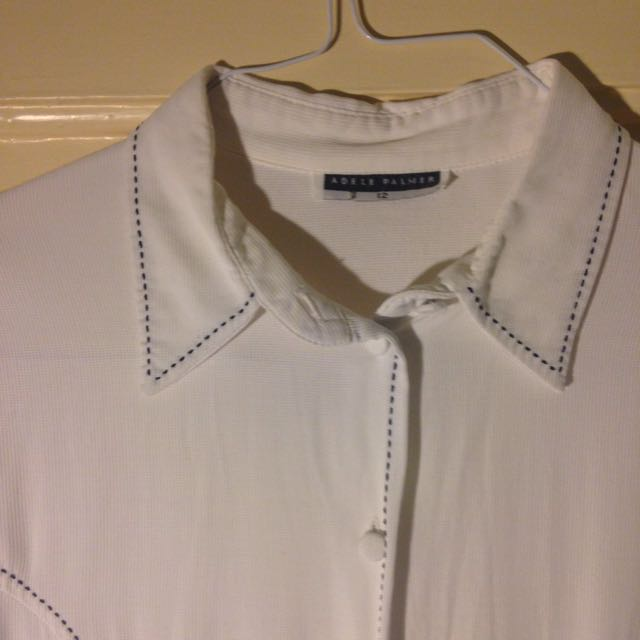 White Cotton Shirt Size m Or 10