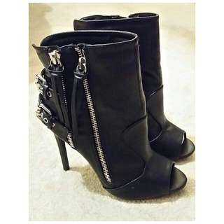 Black Faux Leather Peep Toe Boots