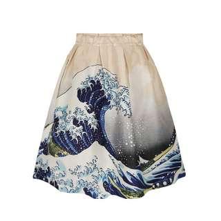 現貨! 浪花朵朵日本浮世繪版畫,中長裙蓬蓬裙