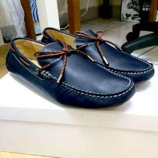 95成新 INK深藍織帶豆豆鞋 真牛皮