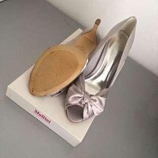 Near New Mollini Satin Silver Heels 39