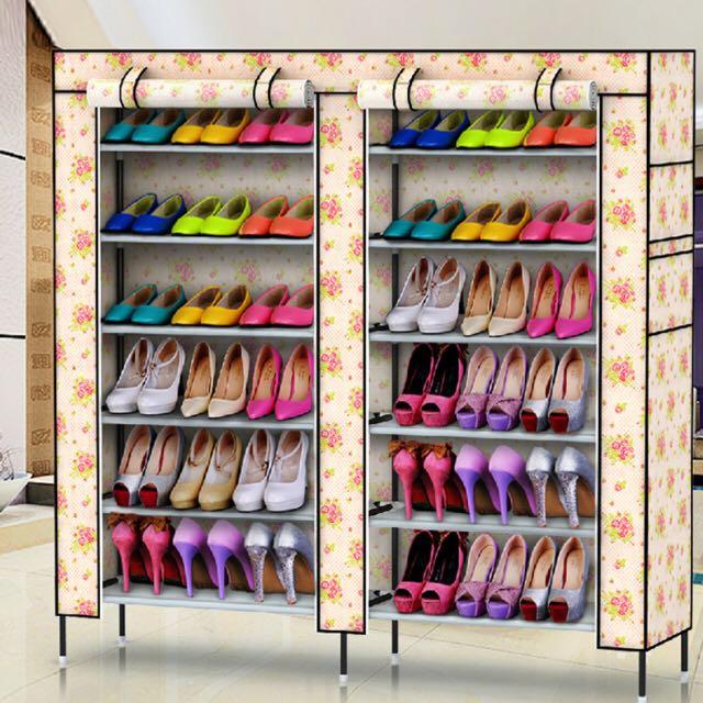 女人專屬鞋櫃❤️雙排12格多功能簡易組裝鞋櫃✌️終於能解決我蜈蚣腳的困擾了😍😍😍