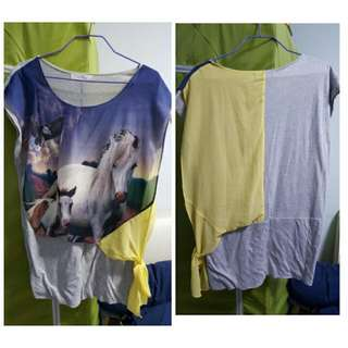 Grey And Yellow Long Blouse With Horse And Eagle