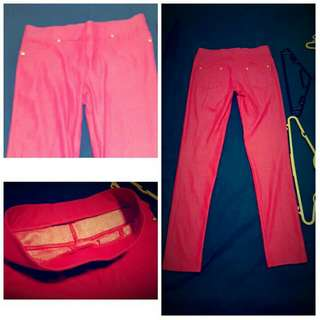 Fuschia Pink Elastic Stretch Pants