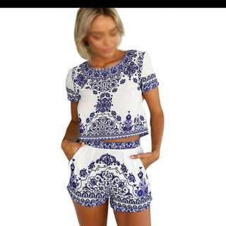 Women Floral Printed Tops + Shorts Suit  White with Blue and white porcelain pattern printing