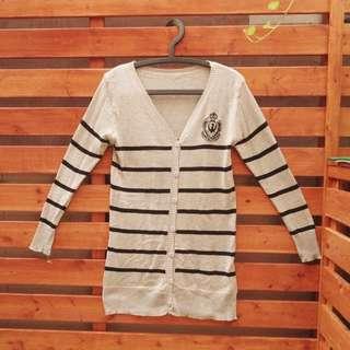 黑灰條紋徽章棉質外套