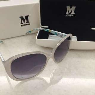 M MISSONI 義大利 幾何圖形 白色 太陽眼鏡-全新