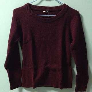 二手/酒紅色毛衣